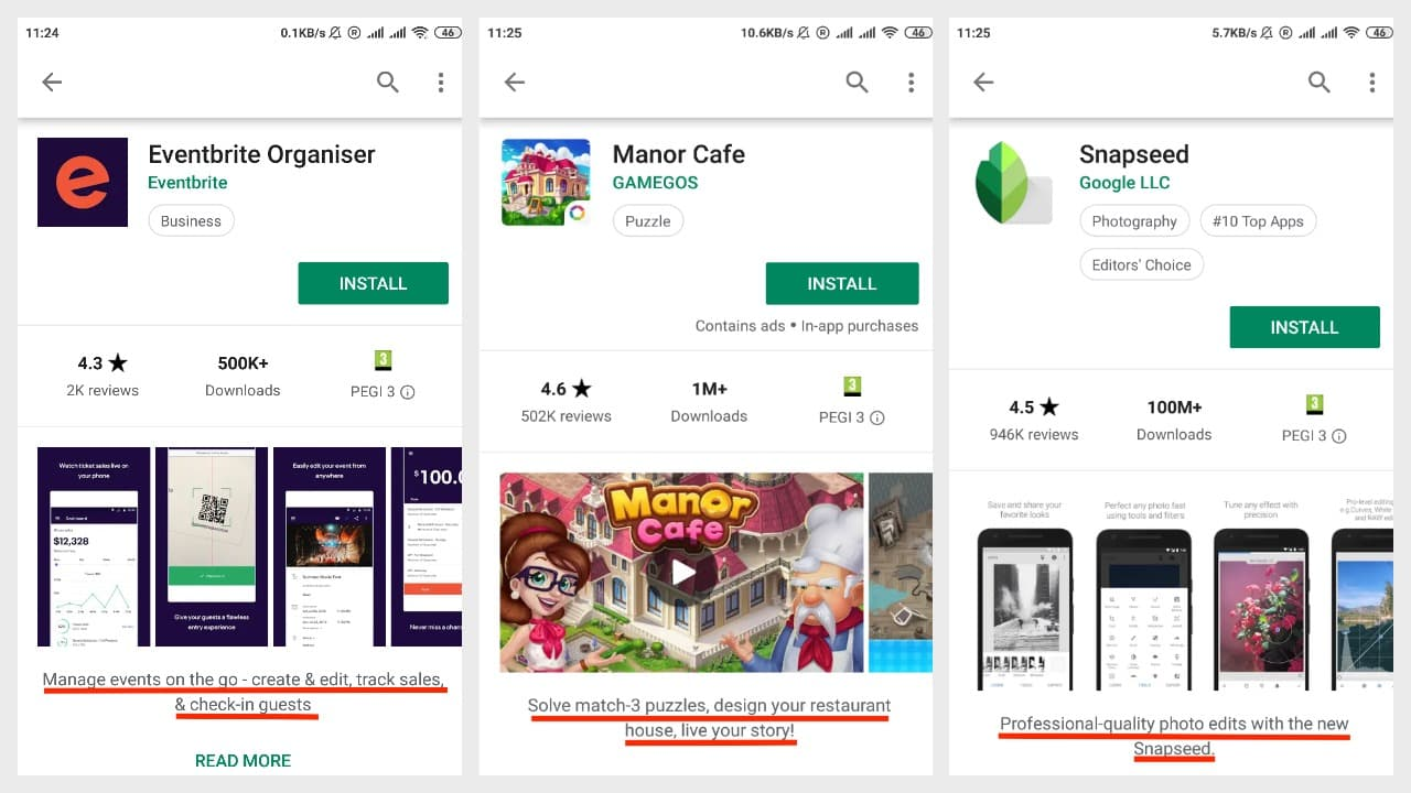 Promo text on Google Play: Eventbrite Organiser, Manor Cafe, Snapseed
