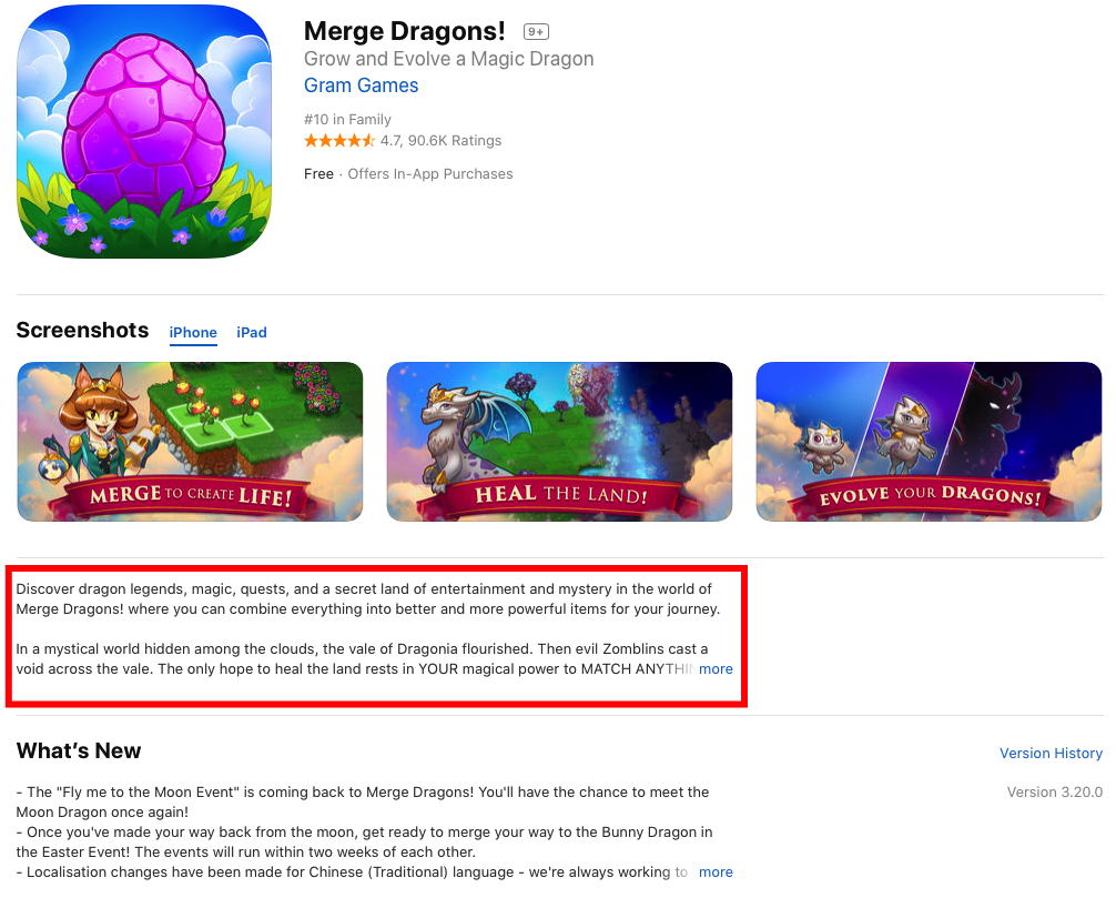 Game Merge Dragons description iTunes screenshot